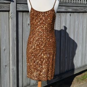 Papell Boutique Gold Sequin Cocktail Dress Size 10